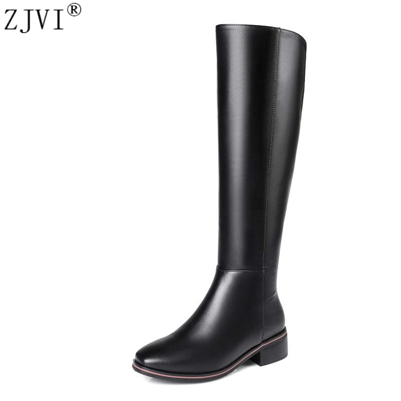 ZJVI women autmn winter thigh high boots woman low heels genuine cow leather microfiber knee boos 2018 fashion shoes