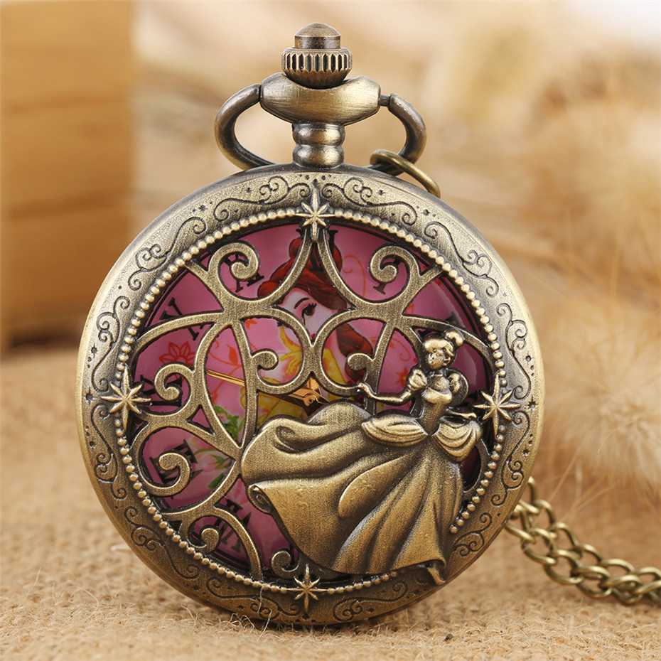 Dancing Princess Design Quartz Pocket Watch Exquisite Bronze Necklace Watch For Girl Ladies Roman Numerals Display Round Dial