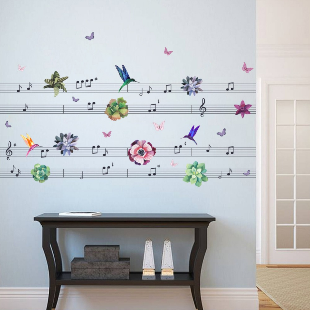 music notes Hummingbirds flowers PVC Wall Stickers living Room ...