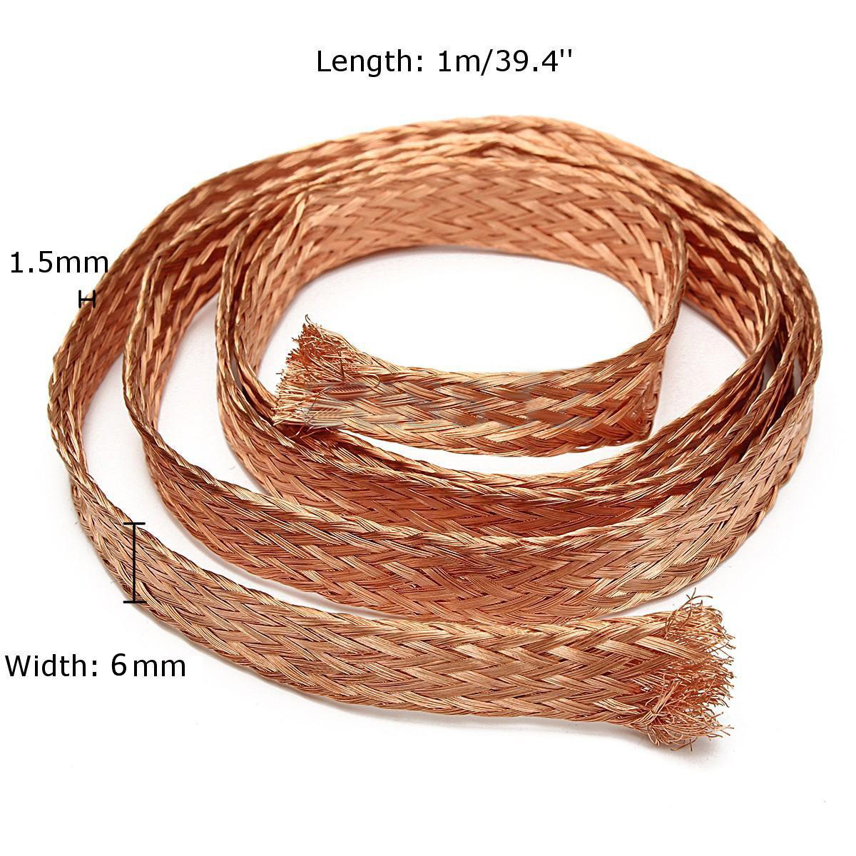 Mayitr Durable Pure Copper Flat Braid Cable Bare Copper Braid Wire Ground Lead 1m/3.3ft x 6mm  1m 15mm flat tinned copper braid sleeve screening tubular cable diy