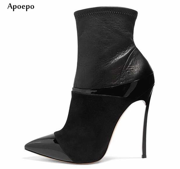 Apoepo Hot Selling Pointed Toe High Heel Boots 12cm/10cm Thin Heels Woman Ankle Boots Sexy Leather Boots Motorcycle Boots 2018 apoepo hot selling green suede high heel