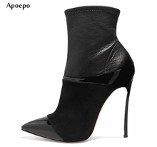 hot deal buy new hot selling pointed toe high heel boots 12cm/10cm thin heels woman ankle boots sexy leather boots motorcycle boots 2018