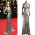 ZZ1011 2017 New Arrival Brilliant Sequined Floor-Length Mermaid Full Sleeve Sequin Celebrity Dresses The Red Carpet