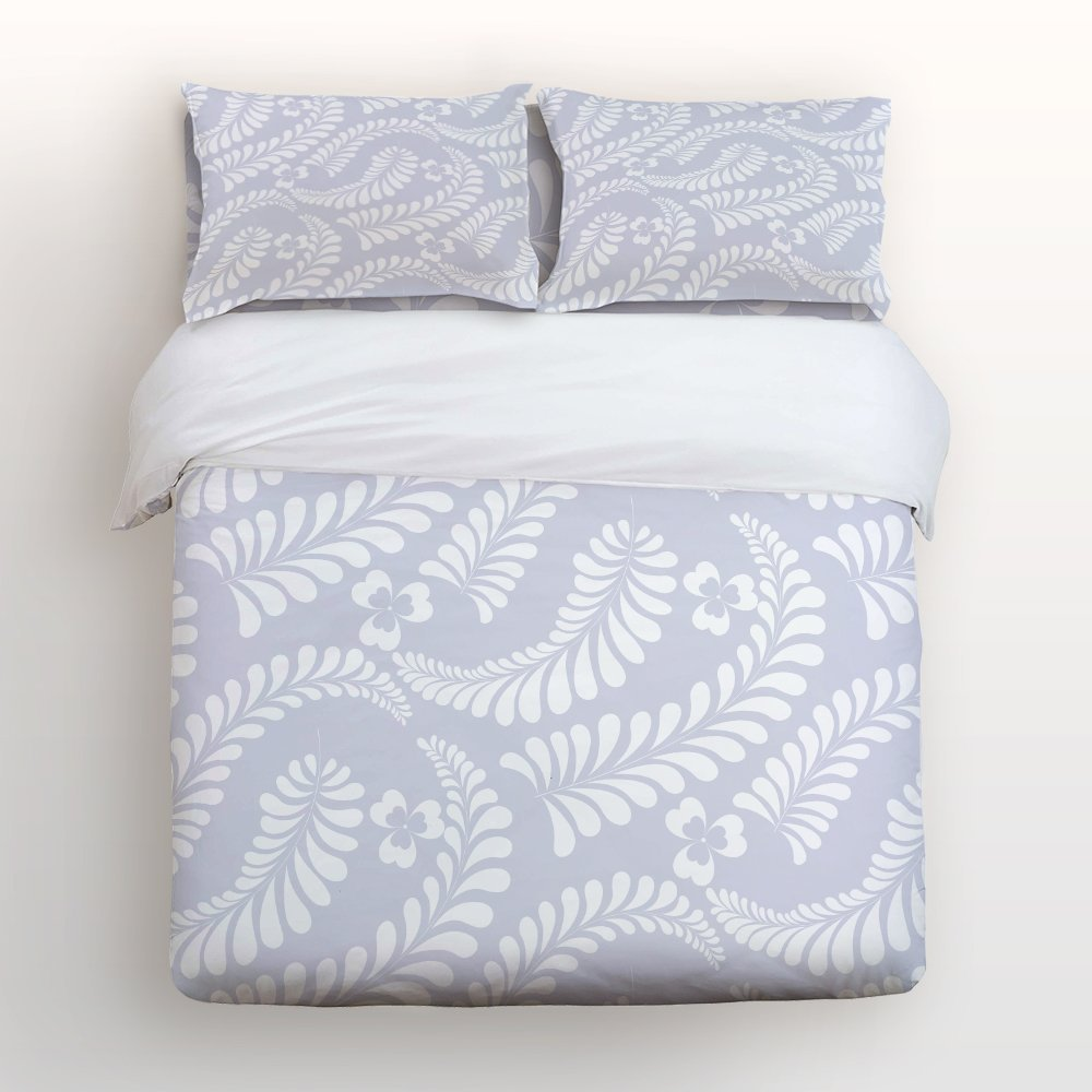 Soft Duvet Cover Washed Microfiber Three Leaves Grass and Branches Grey White Print Bedding Set Comfy Pillow Shams 4 Pieces SetsSoft Duvet Cover Washed Microfiber Three Leaves Grass and Branches Grey White Print Bedding Set Comfy Pillow Shams 4 Pieces Sets