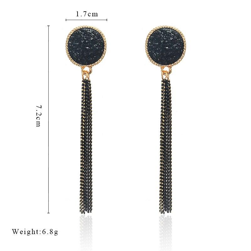 Women Vintage Jewelry Black Tassel Earrings Round Earrings Crystal Long Earrings Female Luxury Rhinestone Boho Dangle Earrings