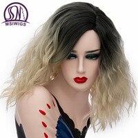 Msiwigs 22色グレー短い巻き毛のかつらナチュラルピンクオンブル合成かつら耐熱ブロンドオレンジ紫髪