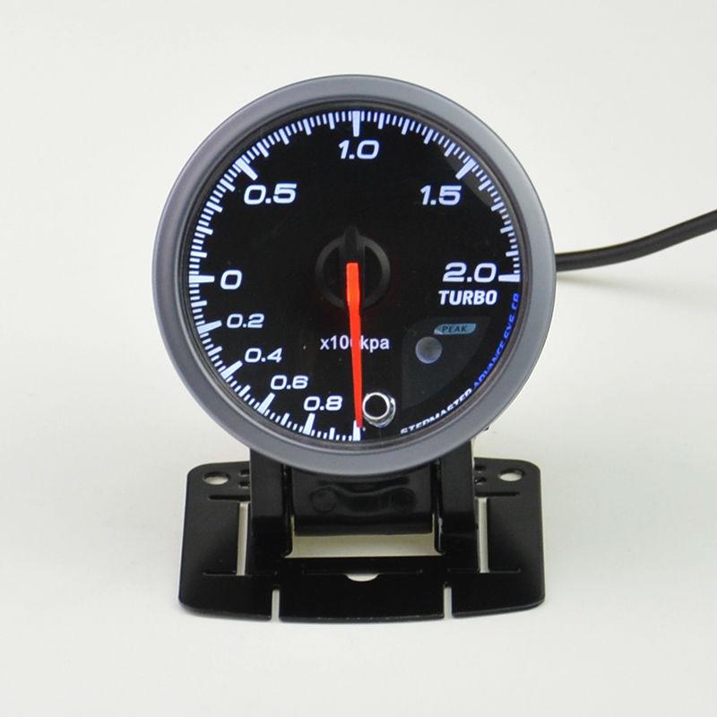 Prix pour 60mm auto boost gauge et turbo gauge gauge auto avertissement fonction Automobile instrument manomètre + gousses