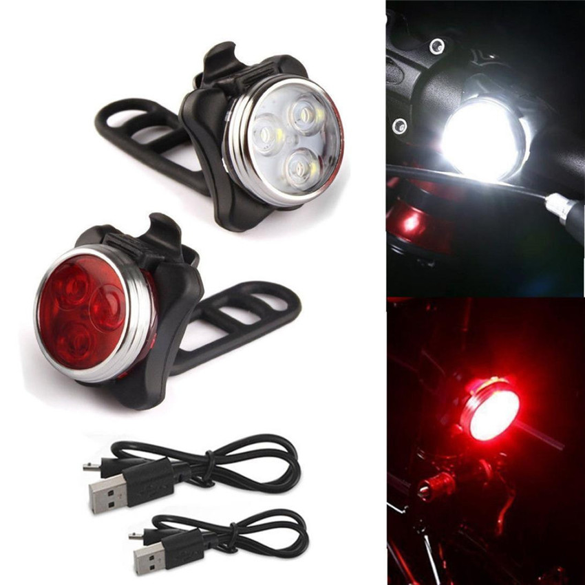 Bicycle Light Cycling Bike 3 LED Head Front Lights With USB Rechargeable Tail Clip  Lamp Torch Taillight Safety Warning Bulb M25 wheel up bicycle head light bike intelligent led front lamp usb rechargeable cycling warning safety flashlight light sensor