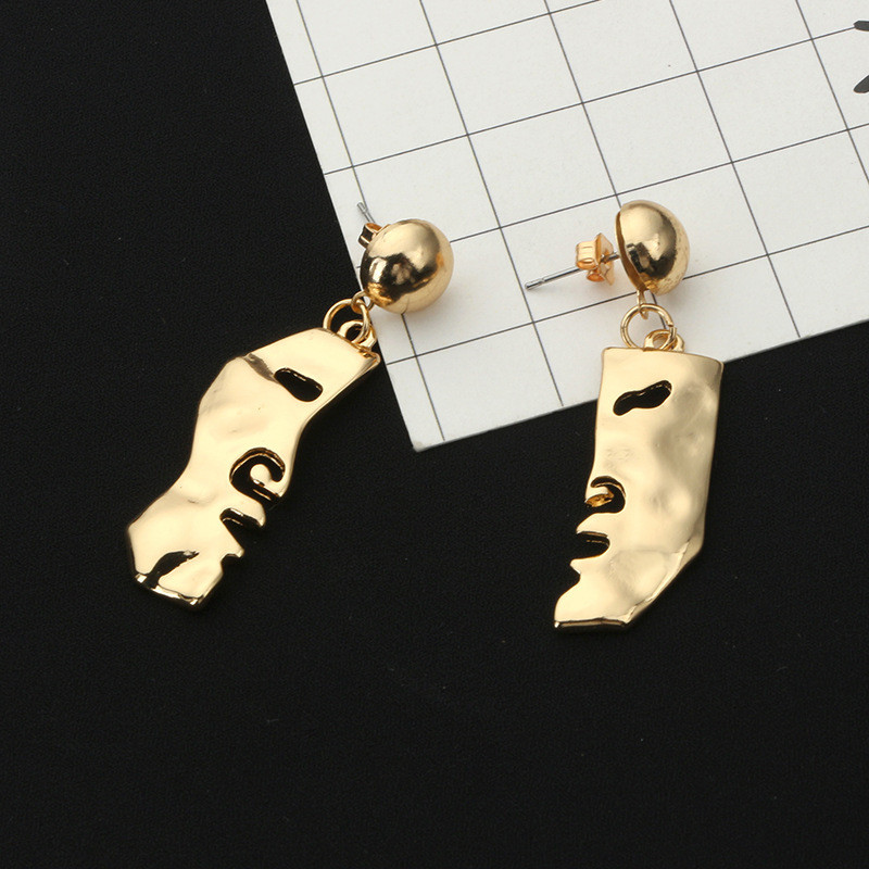 New Design Gold Color Alloy Abstract Art Stylish Face Statement Stud Earrings For Women Girls Jewelry Gift