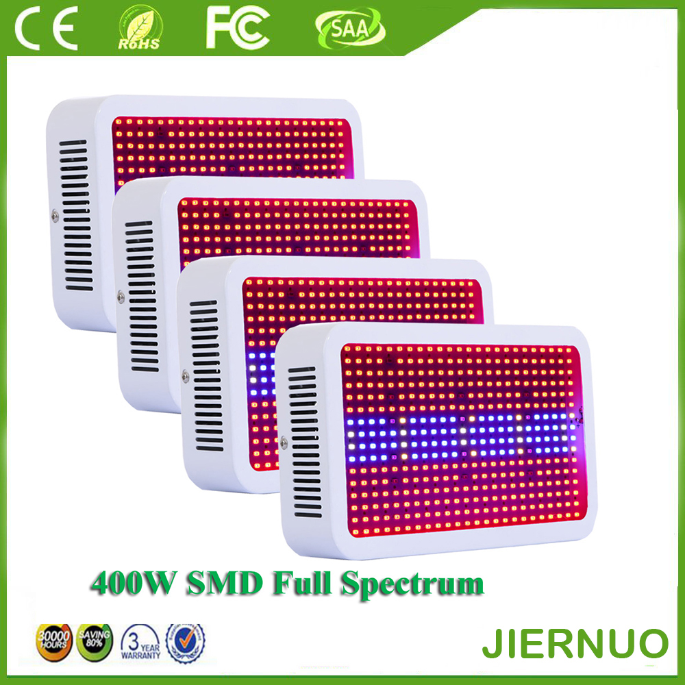 4PCS Full Spectrum 400W LED Grow Light Red+Blue+White+Warm+UV+IR SMD5730 Led Plant Aquarium Lamps for Growing & Flowering full spectrum 800w led grow light red blue white uv ir ac85 265v smd5630 led plant lamps best for growing and flowering
