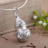 Xiangyuan S990 fina plata colgante antique artesanías venta al por mayor de plata hechos a mano de la calabaza estéreo