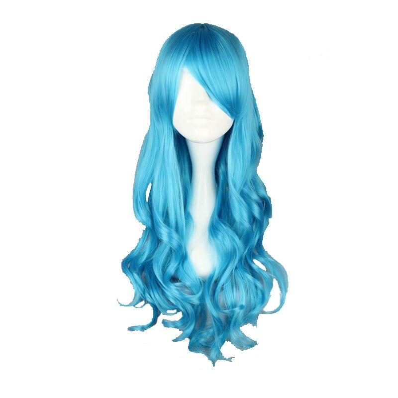 Haarverlängerung Und Perücken Kunsthaarperücken Mcoser 70 Cm Lange Wellenförmige Synthetische Hellblau Farbe Wig100 % Hochtemperaturfaser Haar Wig-413a