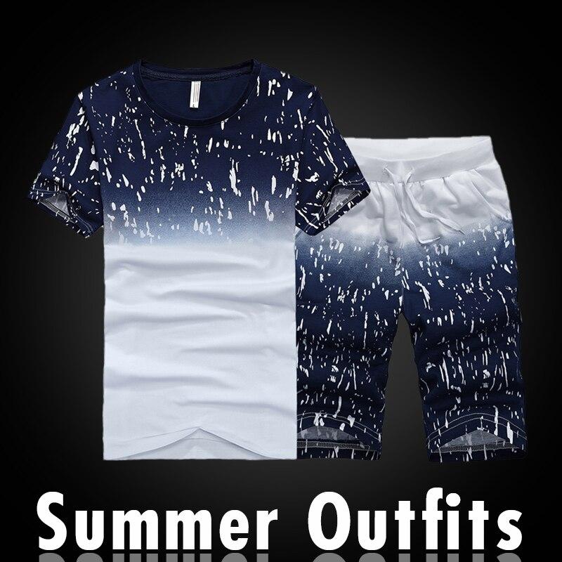 2PCS Summer Men Short Sleeve T Shirt Set Tracksuits Causal O-Neck Fitness Skinny Tight Men's Tops Short Trousers Pants Suitable