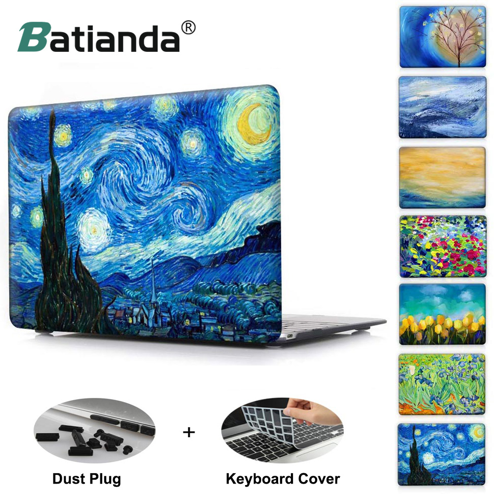 Starry Night Oil Painting Sleeve For Air 11 12 13 Pro 13 15 Retina Crystal Clear Hard Back Cover Protective Case Touch Bar A1706 long hair beauty figure w sparkling crystal protective plastic back case for iphone 5 white