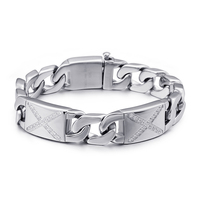 Titanium Steel Bracelet Cubic Zirconia Buckle Bracelets & Bangle Fashion Punk Hip Hop Party Rock Jewelry Silver Color