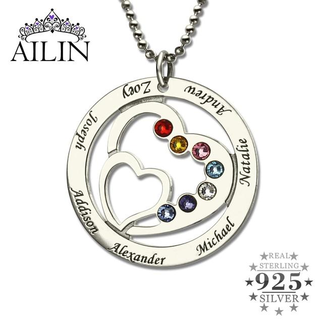 Оптовая Сердце в Сердце Камень Семьи Имя Ожерелье Персонализированные Ожерелье Матери Серебряный Камень Ожерелье Подарок для Матери