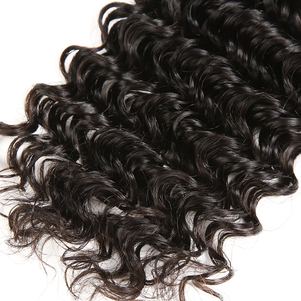 Karizma Deep Wave Brazilian Hair 3 Bundle Deals Med Closure Middle - Mänskligt hår (svart) - Foto 6