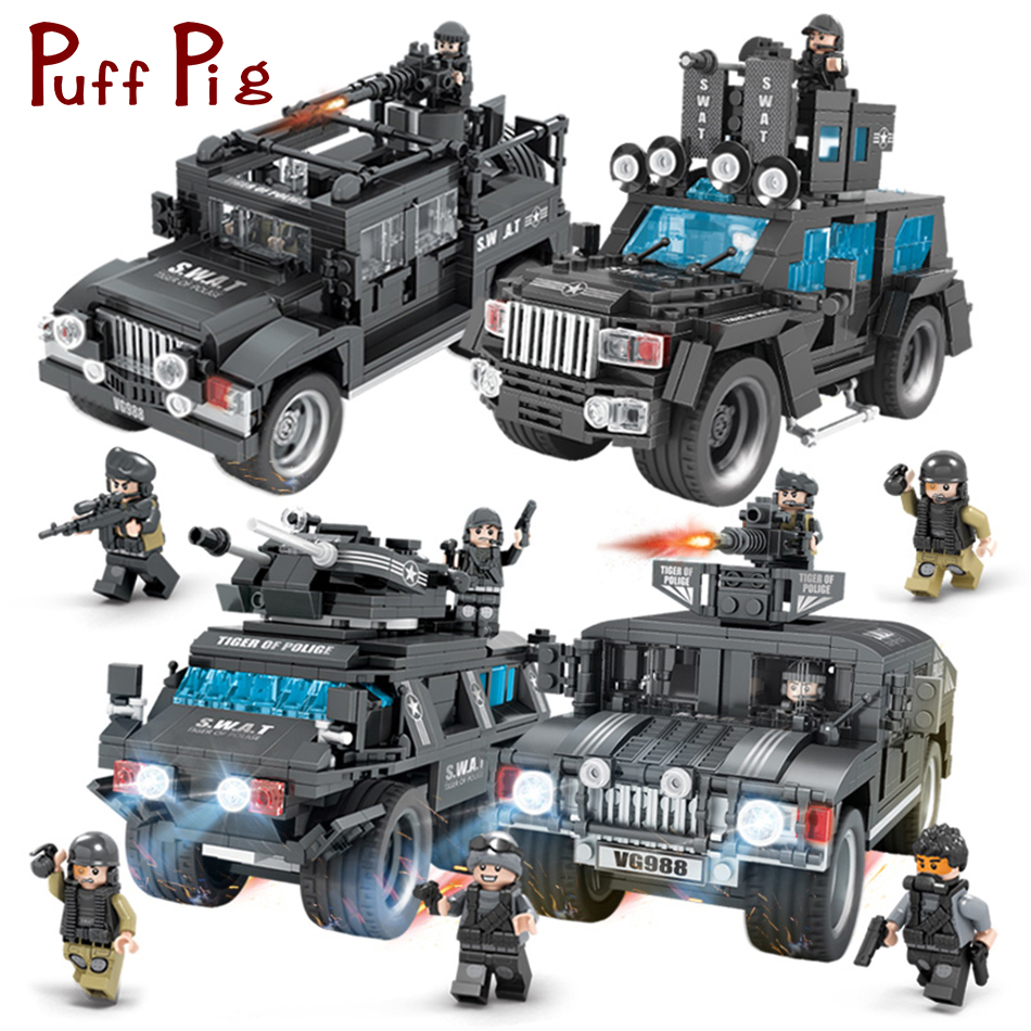 SWAT Team Commando Trucks Military Figures Building Blocks Set Compatible legoed City Police Enlighten Toys for Children Boys