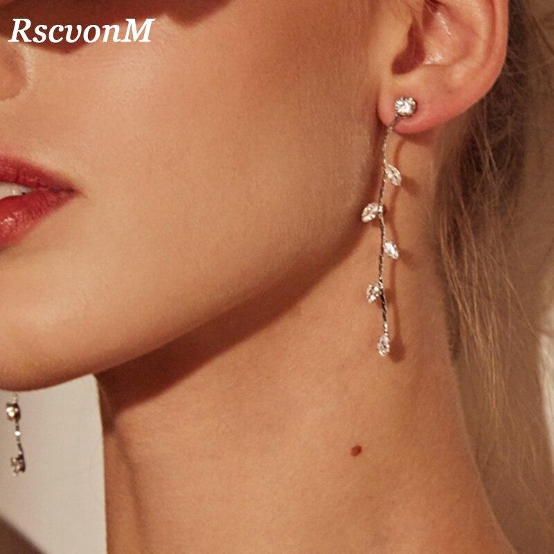 RscvonM Silver Color Leave Crystal Wedding Long Earrings Floral Shape Chandelier Earrings for Women Brides Bridesmaid Christmas
