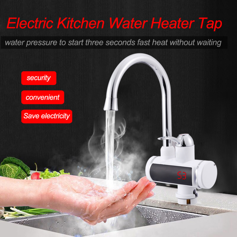 220V Digital Display Electric Water Heater Tap KitchenInstant Hot Water Faucet Heater Tankless Water Heater Faucet Fast Heating