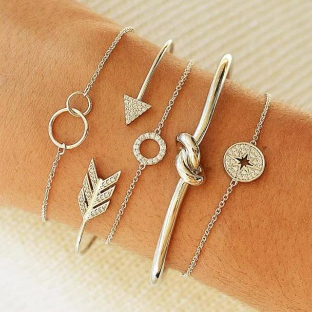 DIEZI Punk Butterfly Eye Star Moon Leaves Crystal Gem Shiny Gold Multilayer Chain Bracelet Set Women Exquisite Party Jewelry