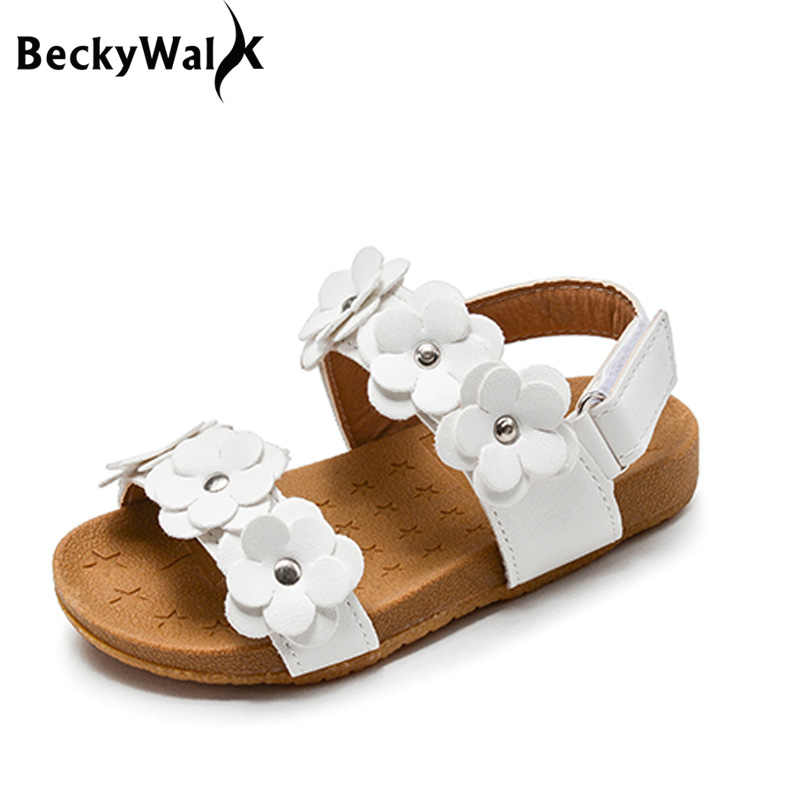 0da4c9b57 2019 New Summer Children Sandals for Girls Soft Leather Flowers Princess  Girl Shoes Kids Beach Sandals