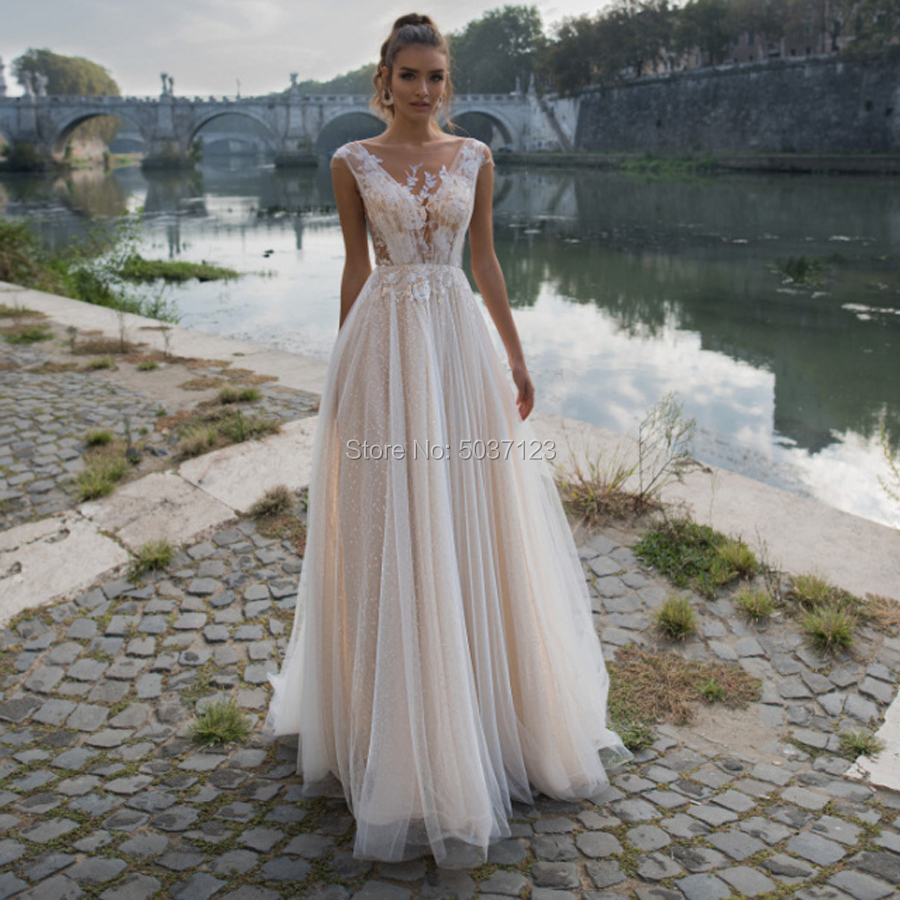 Beach Wedding Dresses A Line Tulle V Neck Cap Sleeves Floor Length Open Back Vestido De Noiva Bridal Wedding Gown Plus Size