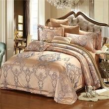 discount luxury tribute silk satin jacquard bedclothe bedding set wedding noble fashion bed set cotton bed