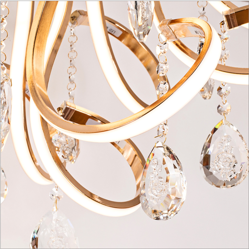 Image 3 - Creative personality art modern simple led chandelier living room lights K9 crystal luxury restaurant bedroom lights-in Chandeliers from Lights & Lighting