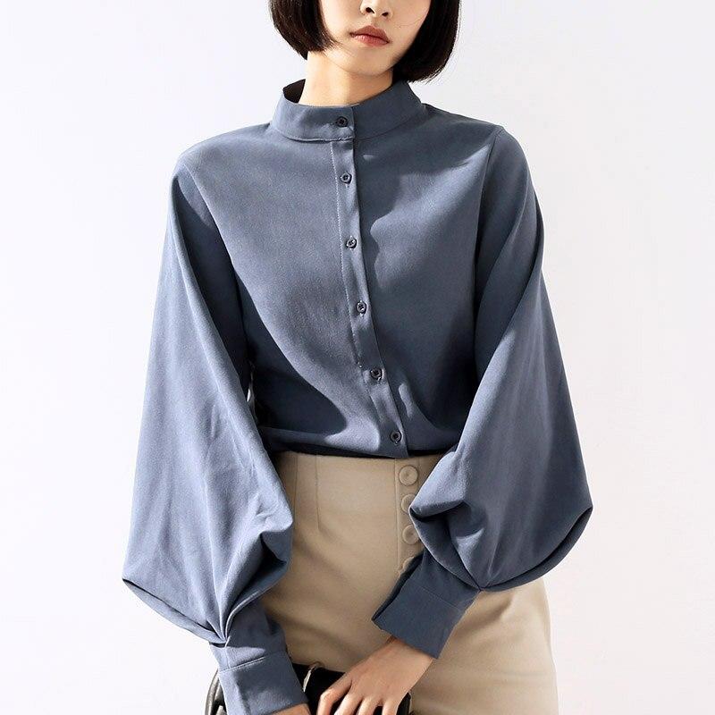 6c7fb4cbb3f9 Женские блузки, модная блузка с длинным рукавом, однотонная элегантная  белая Офисная Женская рубашка, повседневные топы, шифоновые блузы, .