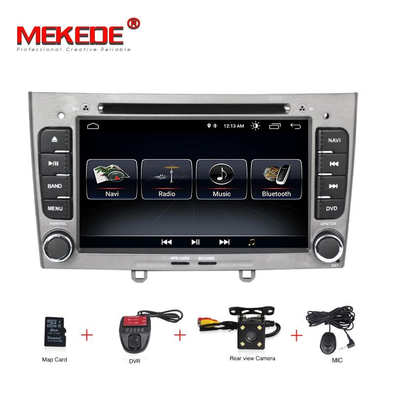 Livraison gratuite HD 1024x600 Android 8.1 7 pouces voiture DVD multimédia pour Peugeot 308 408 avec WIFI Radio GPS Navigation 8G carte