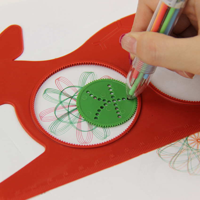 1 PC Hot Magic Turtle Rabbit Sketchpad Spirograph Drawing Kids Gift Educational Office Stationery Ruler