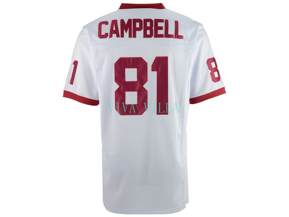 Julius Campbell Jersey #81 Remember the Titans Movie Jersey American Football Jersey White All stitched футболка huf wreaking havoc football jersey gray heather