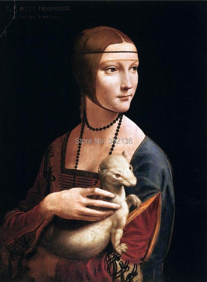 Belle peinture à l'huile Portrait de Cecilia Gallerani ( dame avec l'hermine ) Leonardo Da Vinci création pour décoration murale pas de cadre