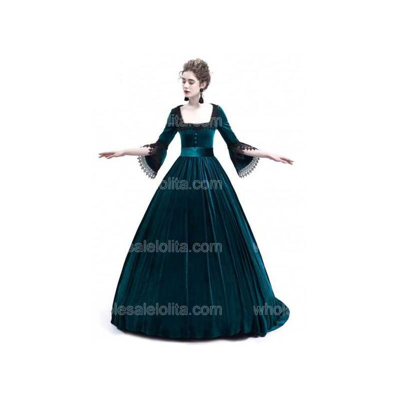 Diamond Blue Velvet Dress Ball Gown Stage Costume Dress Marie Antoinette Queen Theatrical Victorian Dress