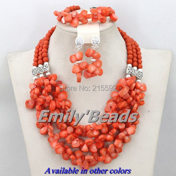 Free Shipping Orange African Costume Jewelry Sets Nigerian Wedding Christmas Coral Beads Jewerly