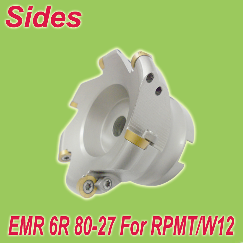 Free Shiping Two Colors EMR 6R-80-27-6T Round Dowel Face Milling Cutter Head for RPMT/W1204  цены