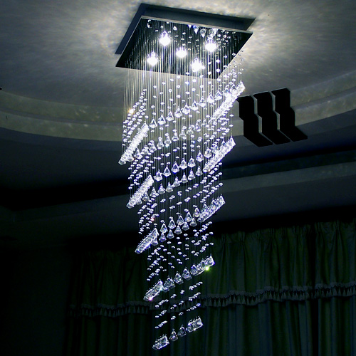Rectangular GU10 Luxury Crystal Pendant Light Cool/Warm White Light LED Crystal Double Staircase Hall Villa Long Crystal Lamp chinese style simple led long block crystal villa staircase pendant lamp revolving double staircase living room lighting pendant