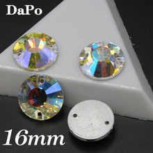 Wholesale 96pcs/box 16mm Round Sew on Rhinestones Crystal Clear AB Flat Top 2 holes For clothing accessories SF0383