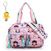 + 인형 키 체인 새로운 핑크 하라주쿠 인형 방수 나일론 핸드백 숙녀 가방 한 어깨 가방 크로스 바디 학교 가방 핸드백 엄마