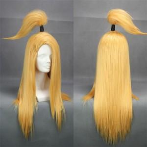 "Image 3 - נארוטו Deidara 60 ס""מ ארוך ישר זהב צהוב עמיד בחום Cosplay תלבושות פאה"