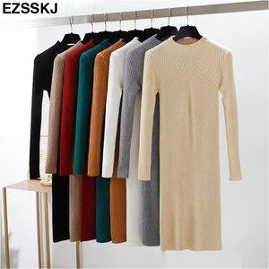 Image 4 - Slim נקבה סתיו חורף midi סוודר שמלת נשים סקסי bodycon שמלה ארוך שרוול גלימת שמלת מוצק בסיסי סרוג שמלה מוצק