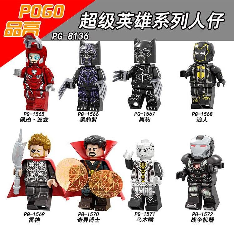 Superhero Iron Man Black Panther Doctor Strange God Of Thundr Minifigured Building Blocks Figure Bricks Compatible With Bela