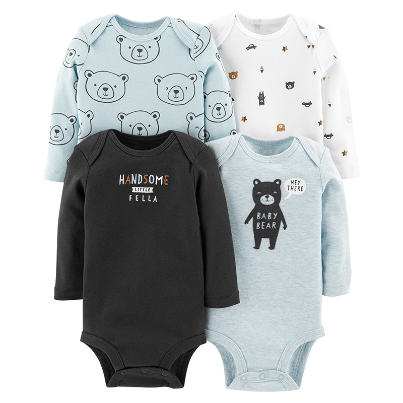 3/4 Pieces/Lot Baby Bodysuits 2018 Spring Autumn Quality Baby Girl Clothes Soft Cotton Long Sleeves Bebe Boys Clothing Jumpsuit