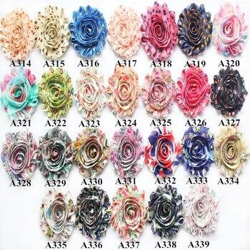 "2.5"" headband frayed shabby chiffon rose flower 75yds(10 bundles,118 prints for selection) DHL free shipping"