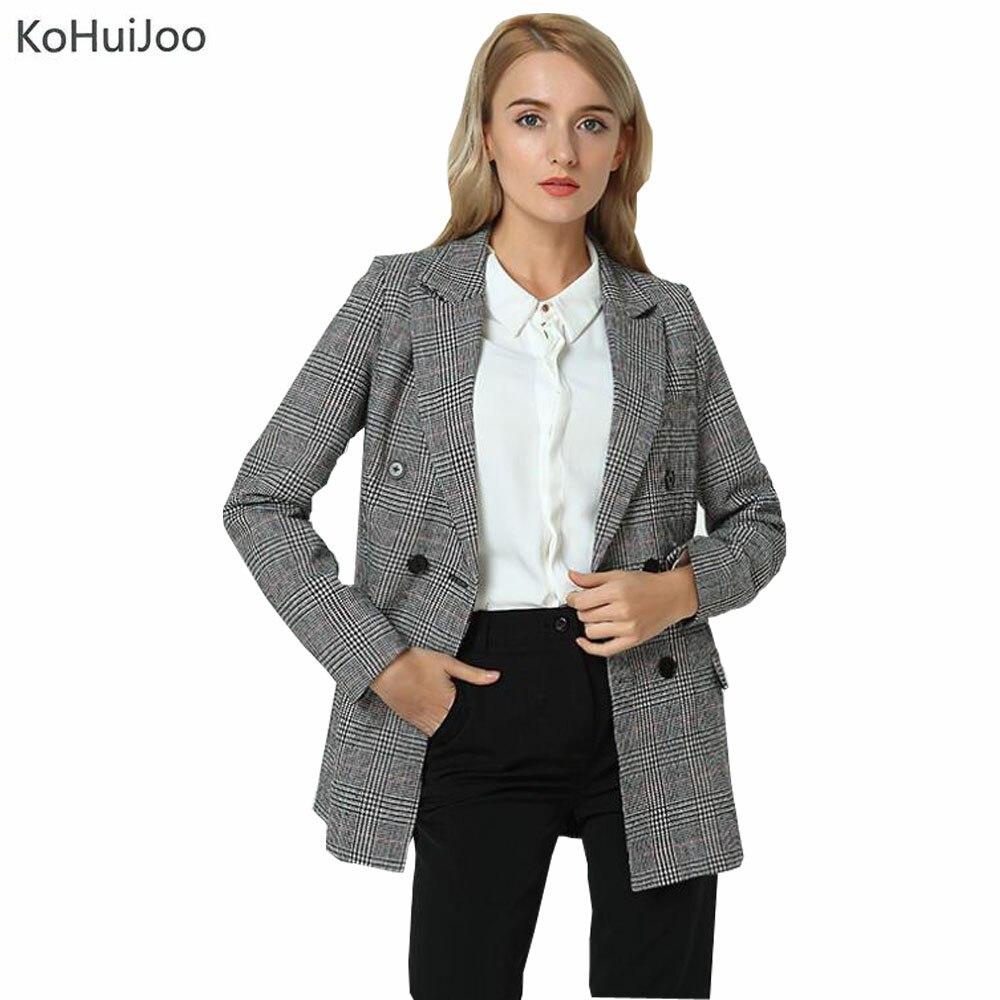 KoHuiJoo 2018 Fashion Plaid Blazer Women Classic Double Breasted Ladies Suit Coat Long Work jackets feminino Vintage Clothing