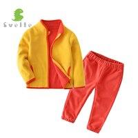 SVELTE Children Set Boys Girls Casual Sport Clothing Sets 2PCS Fleece Jacket Trouser Kids Coat Pant