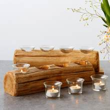 Christmas Innovative Four-hole Wooden Candle Holder Festival Candle Holder Candlestick Desktop Decoration With Glass Liner(China)