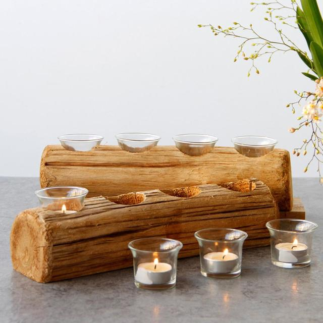 Christmas Innovative Four-hole Wooden Candle Holder Festival Candle Holder Candlestick Desktop Decoration With Glass Liner