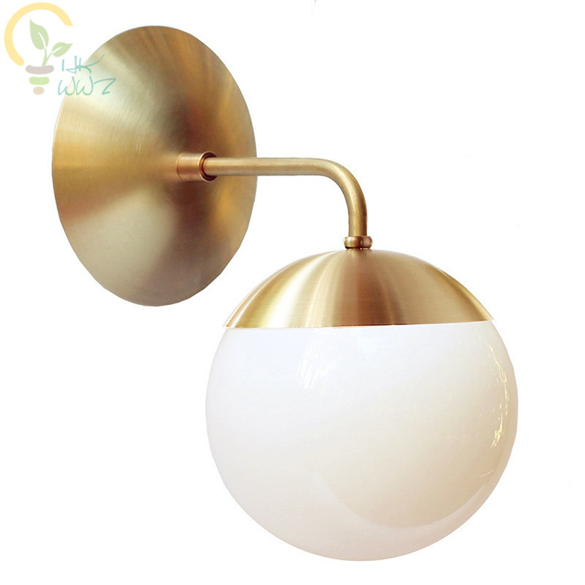 Nordic Copper Modern LED Wall Lamp for Home Indoor Lighting Bathroom Mirror Light Glass Ball Wall Lights Fixtures ArandelaNordic Copper Modern LED Wall Lamp for Home Indoor Lighting Bathroom Mirror Light Glass Ball Wall Lights Fixtures Arandela